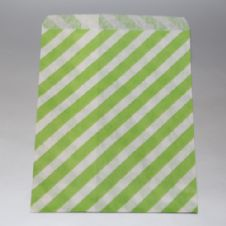 Oblique Stripes Green Party bitty bags Set of 25/ Πλάγιο ριγέ Πράσινο χαρτινα σακουλακια Σετ των 25